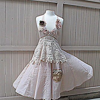 Upcycled Women's Clothing / Shabby Tattered Woodland Fairy / Altered Couture / Gypsy Chic Dress / Rustic Wedding Halter Dress