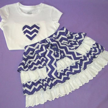 Back to school outfit , girls back to school , toddler back to school , girls chevron skirt , purple skirt , girls twirl skirt ,  size 5-6