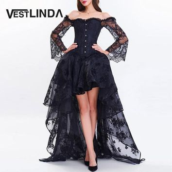 VESTLINDA Women Evening Black Party Dresses 2017 Vestidos Sexy Off Shoulder Short Front Long Back Lace Corset Robe Female Dress