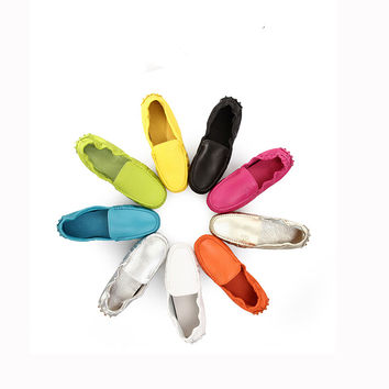 TOP Quality  Ladies Genuine Leather Moccasin Loafer penny Loafer Ballerina Flat Driving Shoes Slip-ons