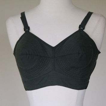 1950's bullet bra, circle stitch bra, cotton black slate gray pointed conical cone bra, 36 C, Exquisite Form