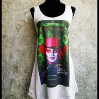 Alice In Wonderland, Johnny Depp Mini Dress Dresses Tank Top Gray Rocker Women Girl Grey Size S,M,L