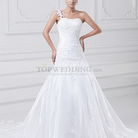 One Shoulder Organza over Satin Mermaid Gown with Beaded Applique