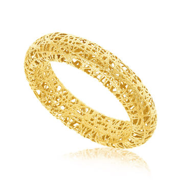 14K Yellow Gold Wire Mesh Tube Style Ring