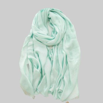 New Fashion  Plain Silk Scarf Luxury Brand Large for Spring  Summer  Sunscreen Wrap Candy Color Foulard Hijab  190*105cm