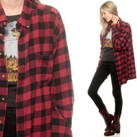 Buffalo Plaid Shirt 90s FLANNEL Grunge Cotton Red Black Button Up 1990s Lumberjack Oversize 80s Vintage Checkered Long Sleeve Small Medium
