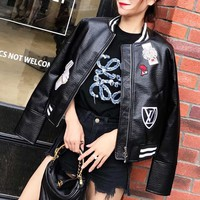 """Gucci"" Women Fashion Personality Badge Long Sleeve Zip Cardigan PU Leather Clothes Jacket Coat"