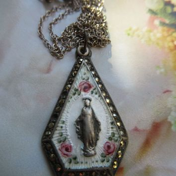 Vintage Enameled Sterling Miraculous Medal Necklace   Roses For Mary