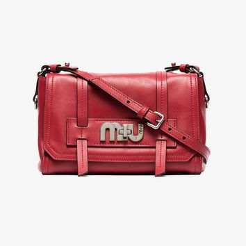 red logo buckle leather satchel bag
