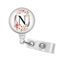 Badge Holder, Retractable Badge Reel, Floral Frame and Initial