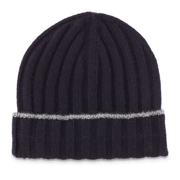 Cashmere Ribbed Hat w/Fold-Over Brim, Navy/Gray, Size: