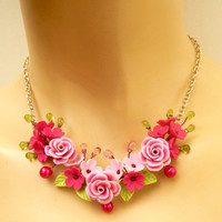Pink - Roses - Floral necklace - Handmade polymer jewelry