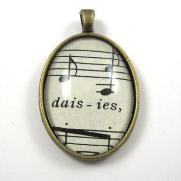 Music Note Pendant with Daisies from Vintage Music Sheet, in Glass Tile Oval