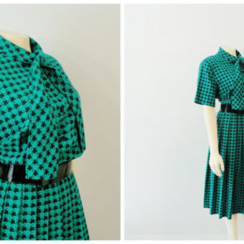 Vintage Dress 60s Mad Men Teal Green & Black Neck Tie Pleated Skirt Size Medium to Large