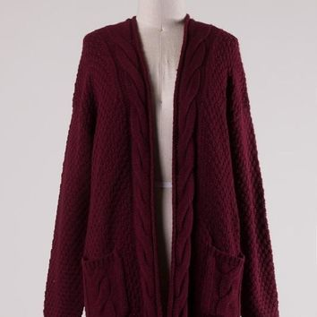 Cable Knit Pocketed Cardigan