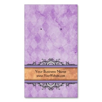 Custom Earring Cards Purple Vintage Business Cards