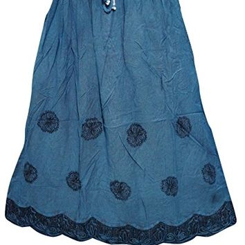 Women's Skirt A- Line Blue Medieval Boho Embroidered Rayon Skirts M