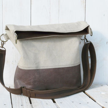 leather tote bag canvas and leather fold over bag adjustable shoulder strap brown and beige cross body bag