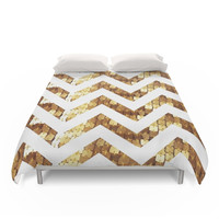 Society6 Gold Sequin Chevron Duvet Cover