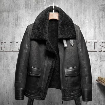 2017 New Original Flying Jacket Black B3 Jacket Shearling Leather Jacket Men's Fur Coat Aviation Leathercraft Pilots Coat