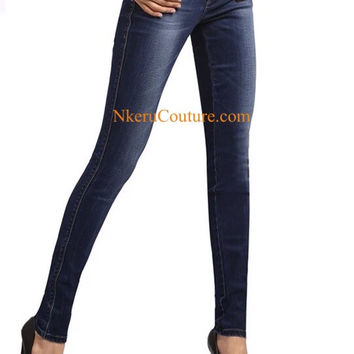 Autumn high waist skinny jeans women full length denim pants female three buttons fly high rise tight trousers ZX909