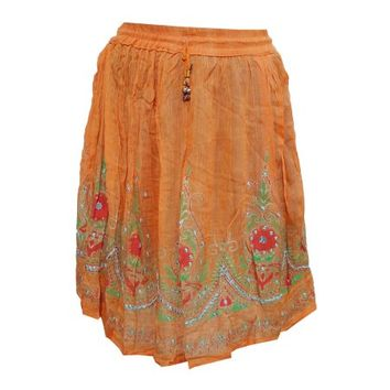 Mogul Womens Ladies Indian Party Boho Gypsy Hippie Mini Orange Sequin Skirt - Walmart.com