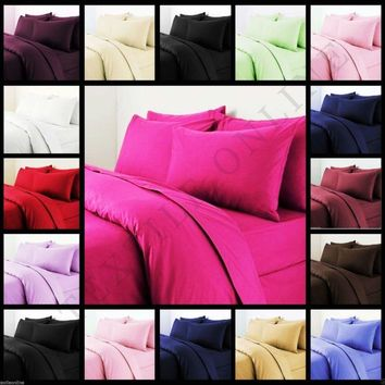 Plain Dyed Duvet Quilt Cover With Pillow Case Bedding Set Single, Double & King