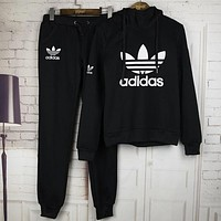 Adidas Trending Women Stylish Print Hoodie Top Sweater Pants Trousers Set Two-piece Sportswear I