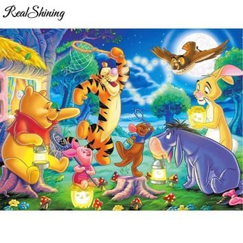 5D Diamond Painting Winnie the Pooh Moonlight Party Kit
