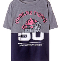 ROMWE Dog and Letters Print Duai-tone Loose Grey T-shirt