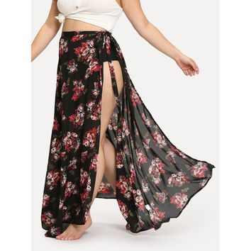 Plus All Over Florals High Slit Skirt