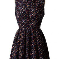 Blossom Chiffon Pleated Navy Blue Dress