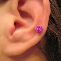 "No Piercing ""Tiny Rose"" Magnetic Cartilage Earring 1 Earring - Not a Pair"