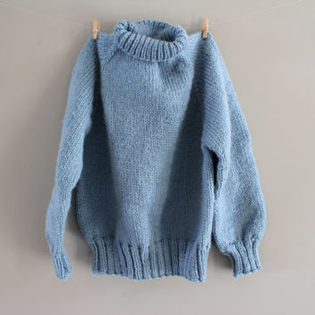 Hand Knitted Toddler Sweater Plain Blue Sweater High Neck Unisex Sweater Boys Gift Handmade Sweater Minimalist Sweater Size 3 to 4 Years Old