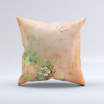 Vintage Coral Floral Ink-Fuzed Decorative Throw Pillow