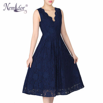 Nemidor 2017 Women Elegant Plus Size V-neck Midi Swing Dress Summer Sleeveless Scalloped Retro Party Casual Lace Dress