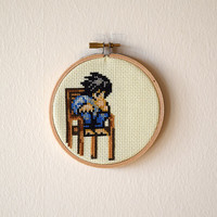 Framed Death Note L Cross Stitch | Death Note Framed Needlepoint | Finished 4x4 Anime Cross Stitch | 4 inch Wooden Embroidery Hoop | Otaku