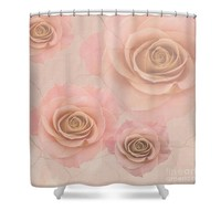 Pink Rose On Marble Shower Curtain
