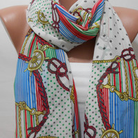 Infinity Multicolor Scarf Nautical Circle Scarf Fashion Pattern Scarf AnchorScarf Long Loop Scarf Women Shawl Gift For Mother For Her