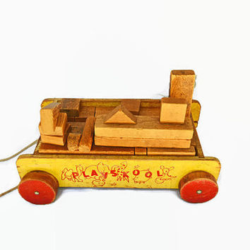 Vintage Wooden Blocks,  Vintage Playskool Toy, Wood Blocks with Wagon, Vintage Building Block Set, Children's Toy
