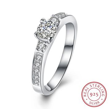 SOLID 925 Sterling Silver Ring engagement diamond ring fashion jewelry beautiful wedding diamond ring crystal QUALITY!