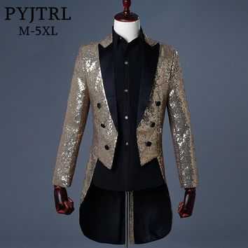 PYJTRL Men Gold Silver Red Blue Black Sequin Slim Fit Tailcoat Stage Singer Prom Dresses Costume Wedding Groom Suit Jacket