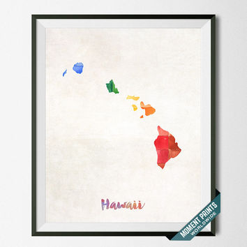 Hawaii Map, Print, State, Honolulu, Artwork, Decor, Poster, Kitchen, Dorm, Bedroom, USA, Wall Art, Gift, Painting, United States [NO 61]