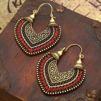 Red and Gold Metal Vintage Earrings