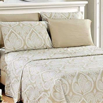 6 Piece: Paisley Printed Bed Sheet Set