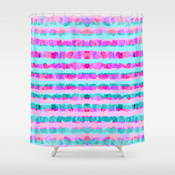 Painted Purple Party Stripes - with pink, teal, mint & aqua Shower Curtain by TigaTiga Artworks