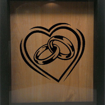 "Wooden Shadow Box Wine Cork/Bottle Cap Holder 9""x11"" - Heart with Wedding Rings"
