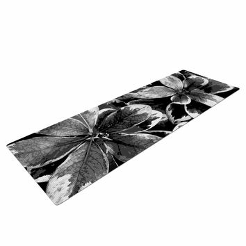 "Julia Grifol ""Leaves In Gray"" Floral Black Yoga Mat"