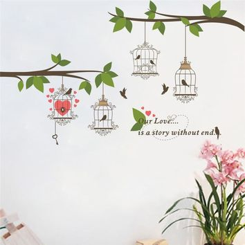 Tree Branch Flower Large Birds Cage Wall Sticker