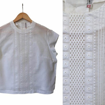 Swiss Made 1950's Blouse - White 50's Blouse - Embroidered Vintage Blouse